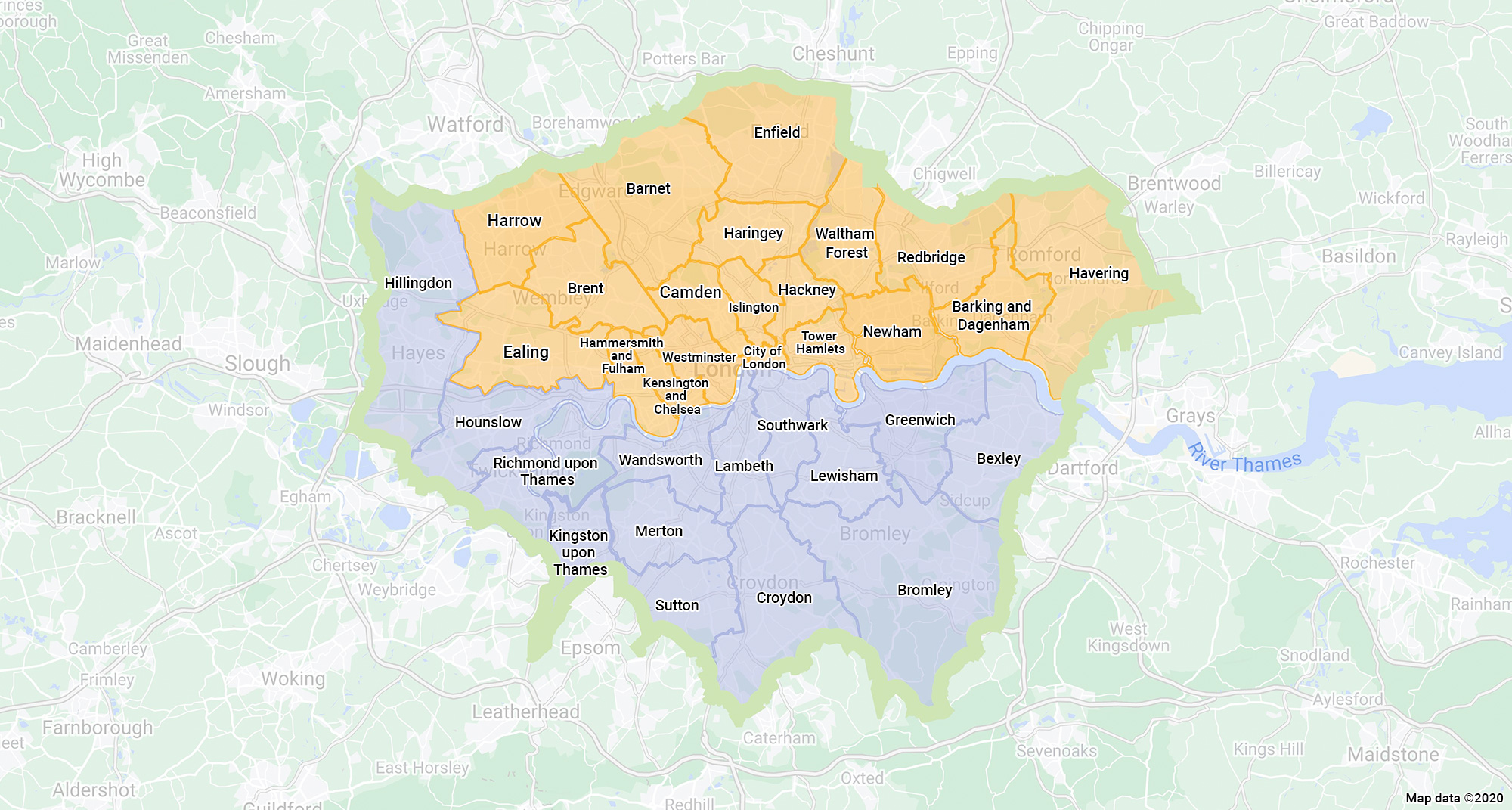 Linking London coverage area map of London boroughs