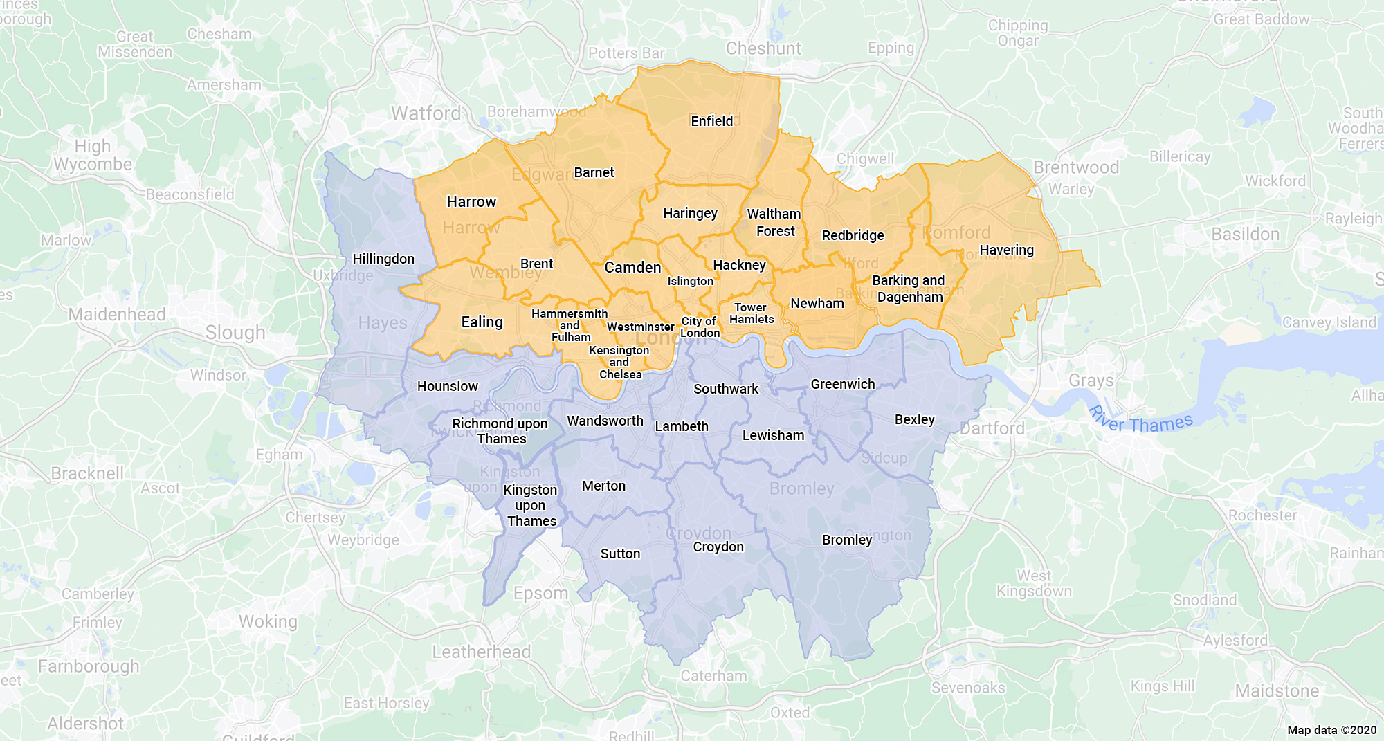 Map of AccessHE and Aimhigher London coverage area in London